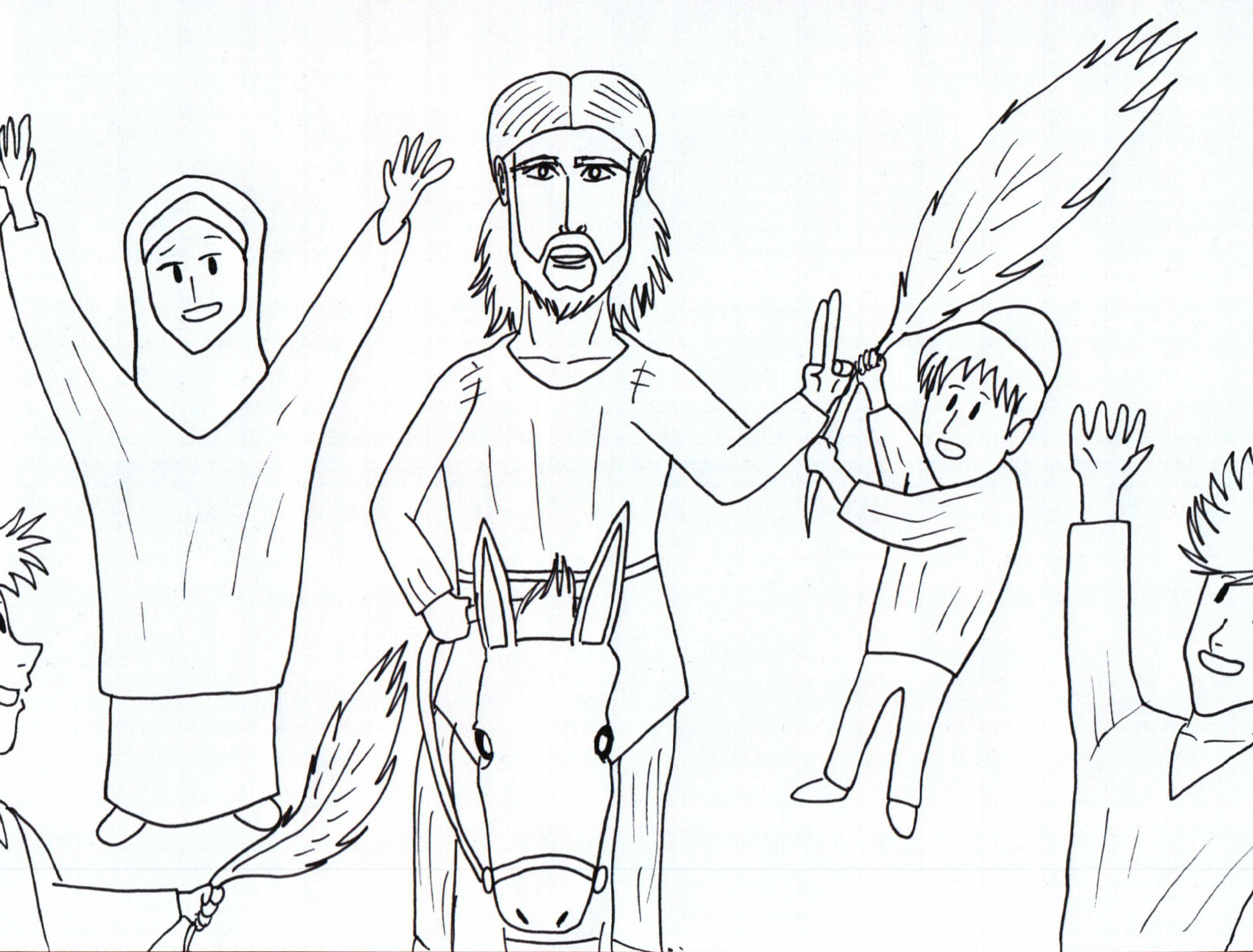 jesus zieht in jerusalem ein ausmalbild kostenloser