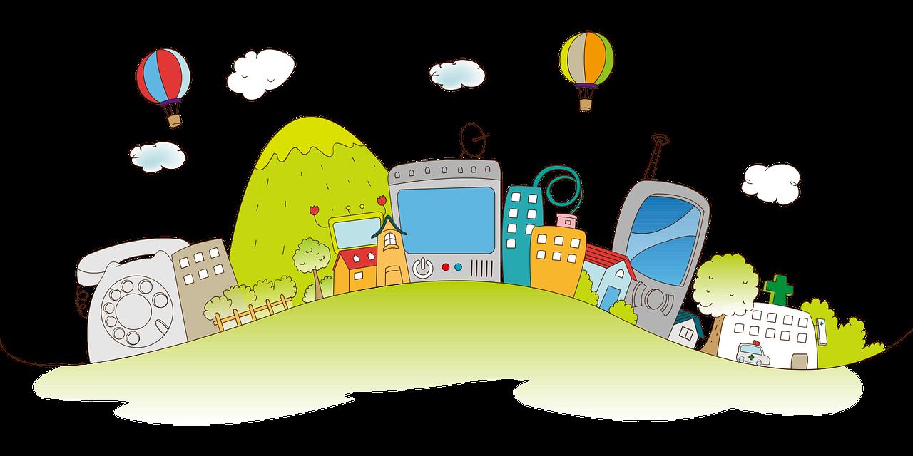 Gezeichnete Stadt mit Häusern und digitalen Geräten - Bild von moonkee na auf Pixabay