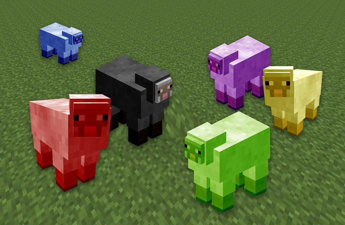 Schafe in den Farben politischer Parteien