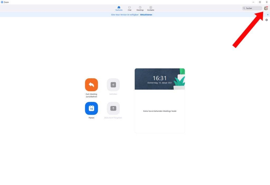 Im Hauptmenü der Anwendung Zoom oben rechts auf das Icon/den Avatar klicken (siehe Pfeil). Das Bild des Icons ist individuell anpassbar (wie auf dieser Abbildung) oder ein Standartbild von Zoom.